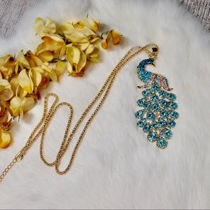 Jewelry - Gold Rhinestone Embellished Peacock Necklace